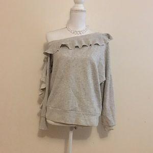 Lou & Grey Off the Shoulder Ruffled Sweat Shirt S